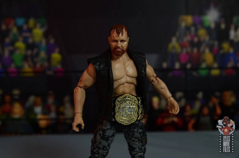 aew unrivaled jon moxley figure review - wide shot with belt