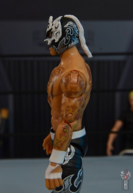 aew unrivaled rey fenix figure review -left side tattoo detail