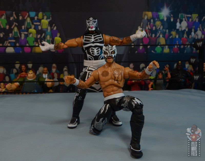 aew unrivaled rey fenix figure review - lucha brothers taunt pose