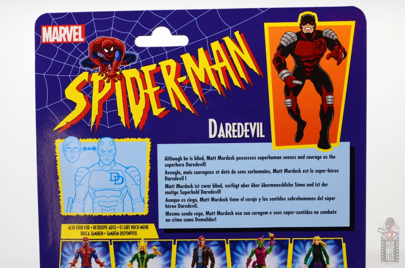 marvel legends retro vintage daredevil figure review -package bio