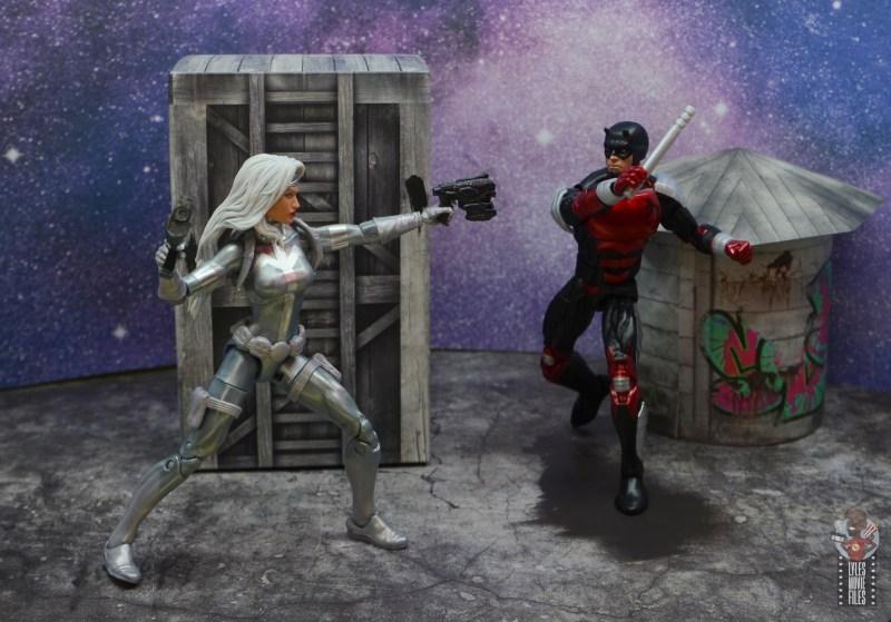 marvel legends retro vintage daredevil figure review -vs silver sable