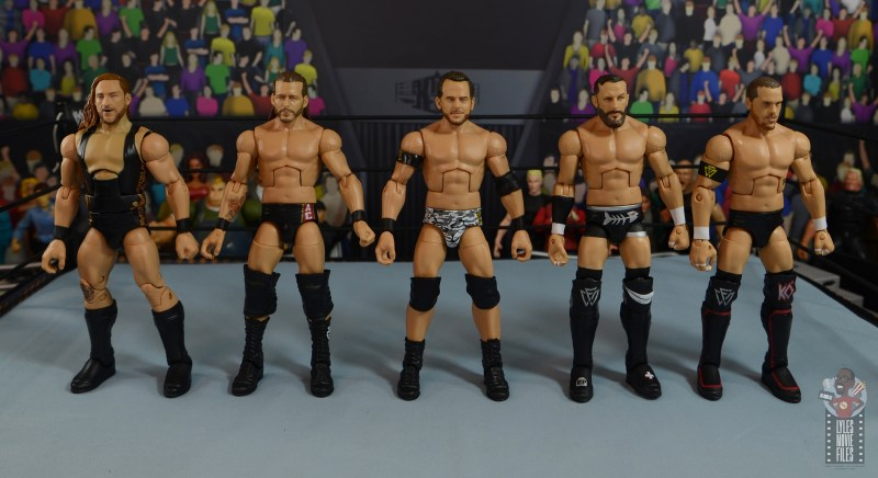wwe elite 72 roderick strong figure review - scale with pete dunne, adam cole, kyle o'reilly and bobby fish