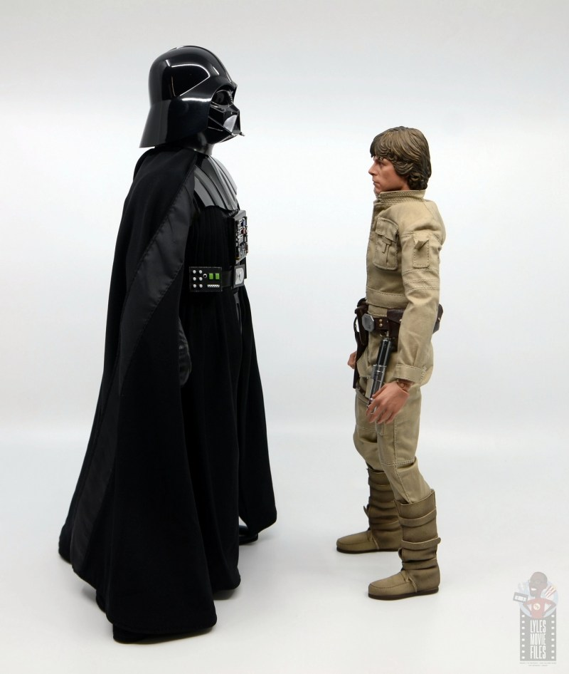 hot toys empire strikes back darth vader figure review - facing luke skywalker