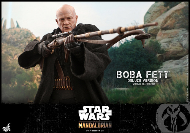 hot toys the mandalorian boba fett figure - aiming rifle