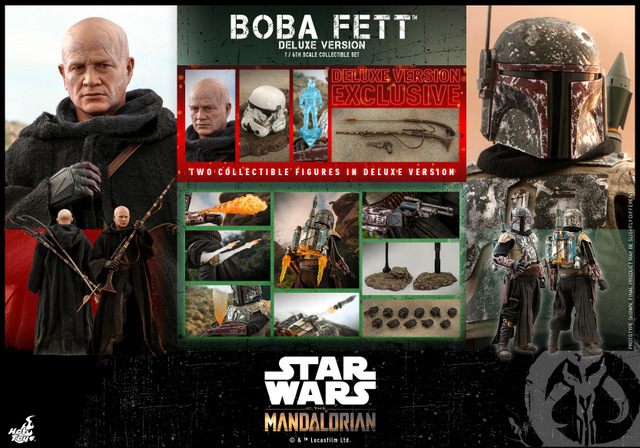 hot toys the mandalorian boba fett figure - collage