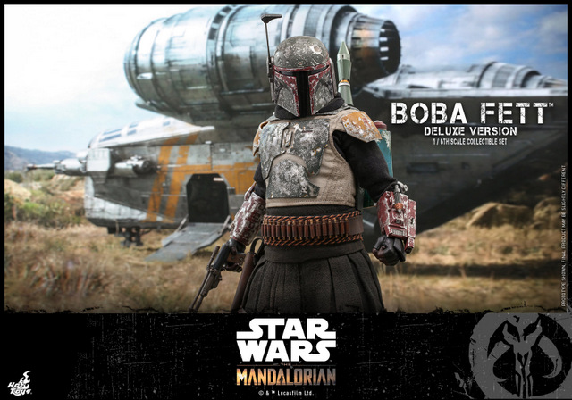 hot toys the mandalorian boba fett figure -wide shot