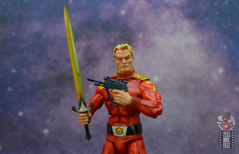 neca defenders of the earth flash gordon figure review - holding sword and blaster