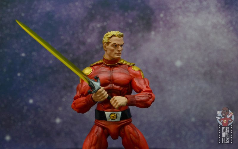 neca defenders of the earth flash gordon figure review - holding sword