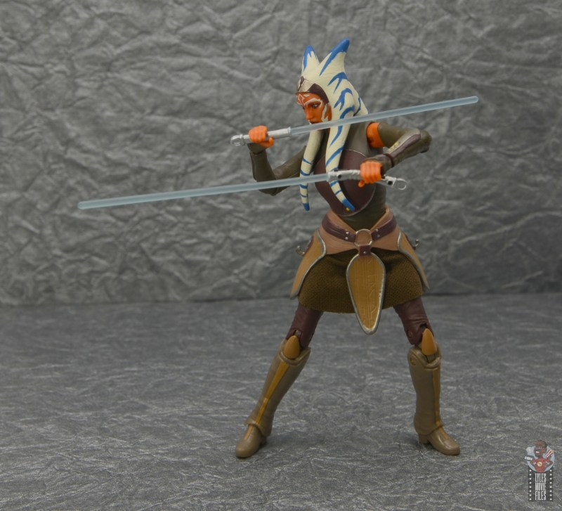 star wars the black series ahsoka tano figure review - lightsabers forward