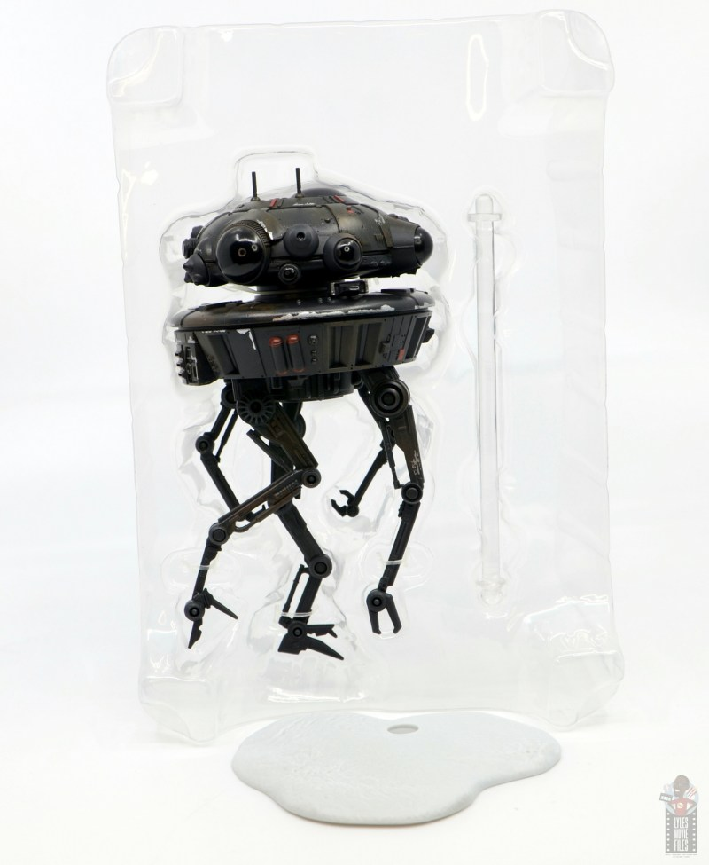 star wars the black series imperial probe droid figure review - accessories in tray