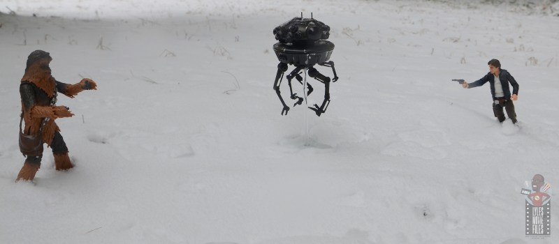 star wars the black series imperial probe droid figure review - flanked by chewbacca and han solo