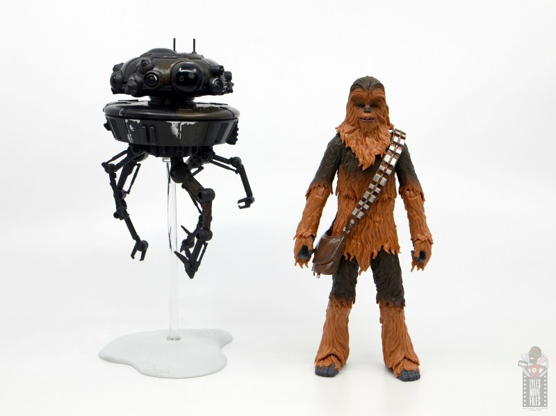 star wars the black series imperial probe droid figure review - scale with chewbacca