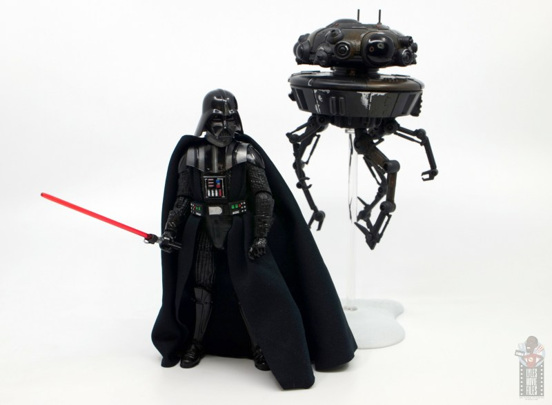 star wars the black series imperial probe droid figure review -scale with darth vader