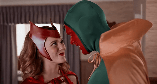 wandavision All-New Halloween Spooktacular ep. 6 - wanda as scarlet witch and vision as vision