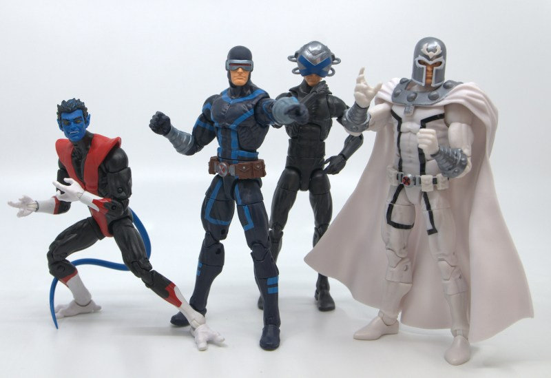 marvel legends house of x cyclops figure review - leading nightcrawler, charles xavier and magneto in action