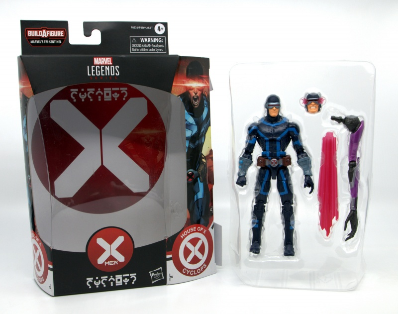 marvel legends house of x cyclops figure review - package insert and inner tray