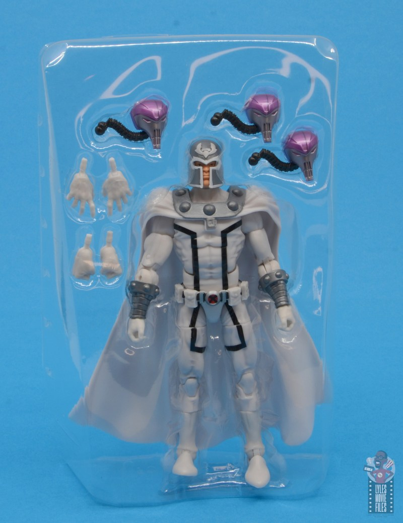 marvel legends house of x magneto figure review - accessories in tray