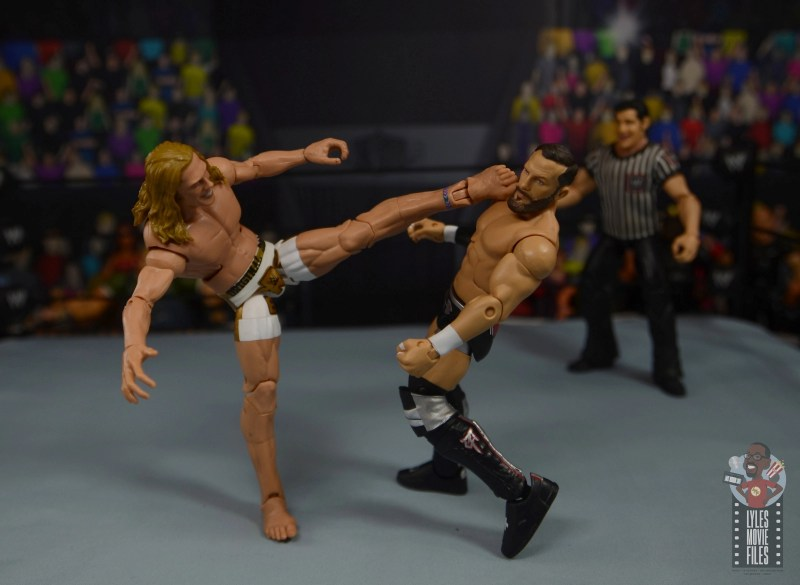 wwe elite 78 matt riddle figure review - standing kick to bobby fish