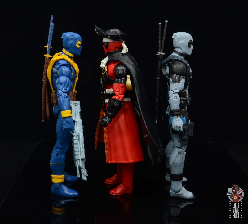 marvel legends pirate deadpool review -facing blue and yellow and x-force deadpool
