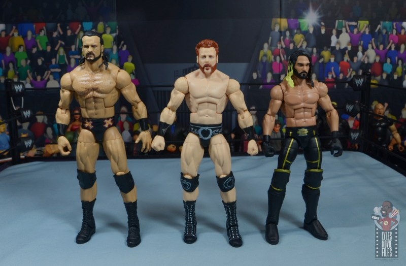 wwe elite 84 sheamus review - scale with drew mcintyre and seth rollins