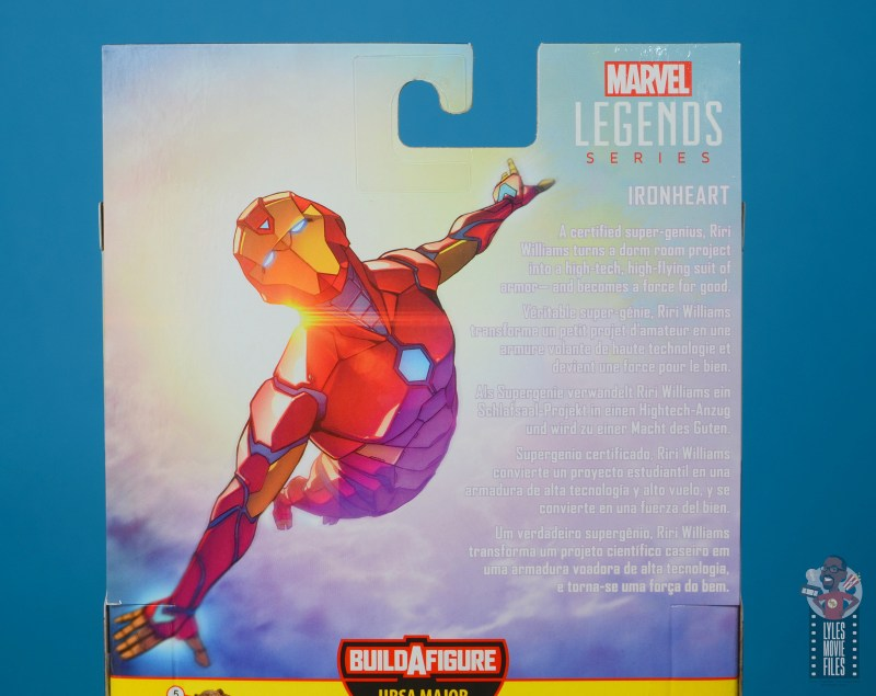 marvel legends ironheart review - package bio