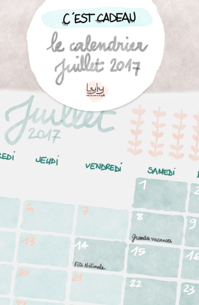 Calendrier mensuel gratuit juillet 2017 à télécharger et imprimer pour s'organiser