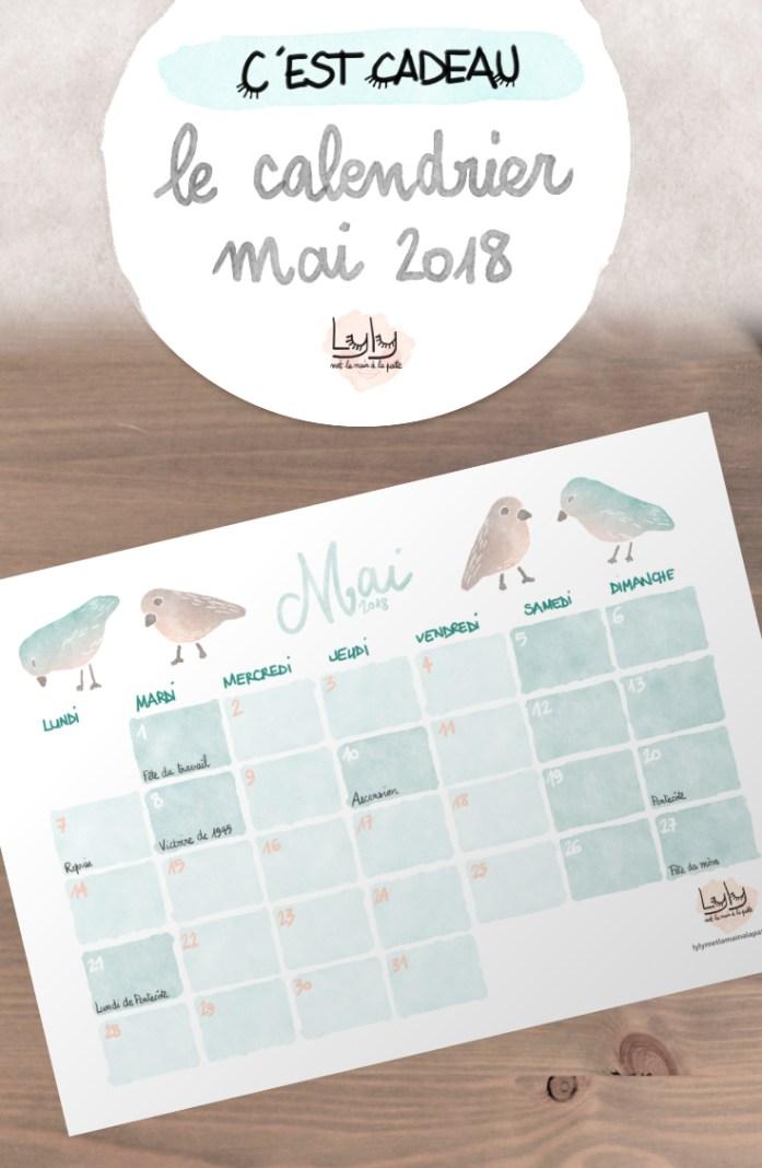 cadeau organisation : calendrier mensuel gratuit mai 2018. Planifiez tous vos projets de loisirs créatifs