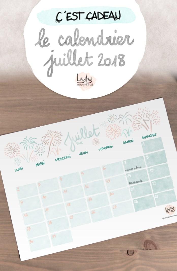 cadeau organisation : calendrier mensuel gratuit juillet 2018. Planifiez tous vos projets de loisirs créatifs