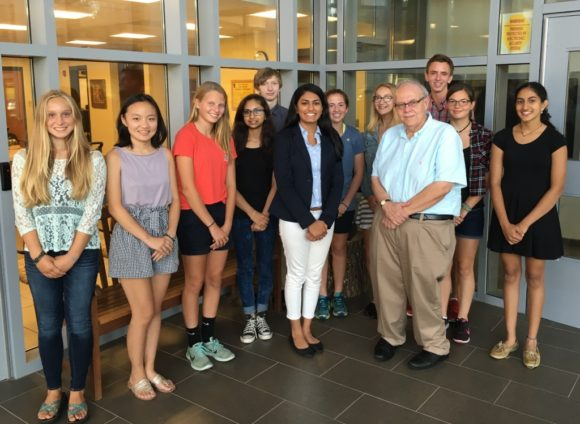 Connecticut Voice's Executive Board gathers for a photo, From left to right (back row), Kelley Gifford, Haoyi Wang, Hannah Lamb, Priya Mistri, KaltenReese Hasankolli, Izzy King, Hailey Jimenez, Gary Bocian from Lyme-Old Lyme High School, Alexandra Chitwood, Evani Dalal; (front row), Isha Dalal (founder) and Stephen Armstrong (advisor).