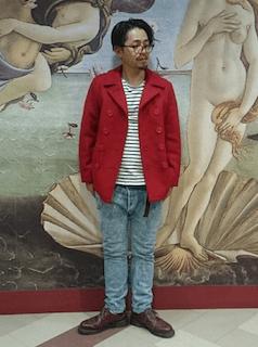 赤のPコート×ボーダーTシャツ×デニム×赤茶のブーツ