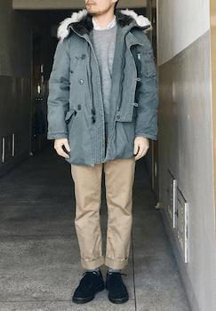 N-3Bジャケット×シャツ×ニットセーター×チノパンツ×靴