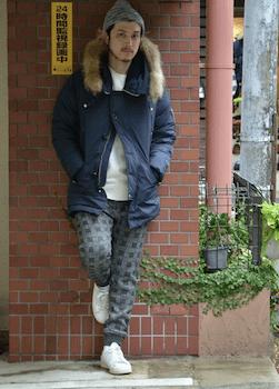 N-3Bジャケット×リブパンツ×スニーカー×ニット帽