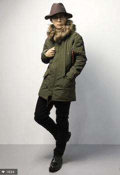 N-3Bジャケット×スリムパンツ×革靴×ハット