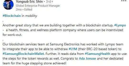 Samsung Global enterprise product manager post about Lympo