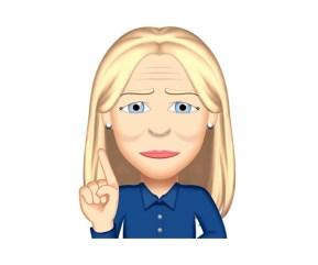 Émoji de Lynda Dionne adjointe virtuelle pointant du doigt