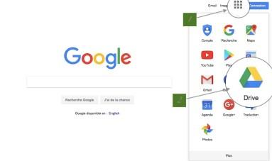 Capture d'écran comment trouver Google Drive sur le web