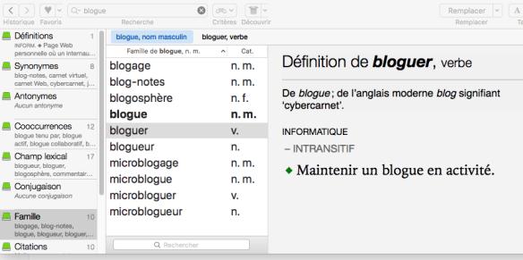 La liste des mots dérivés du mot blogue provenant d'Antidote