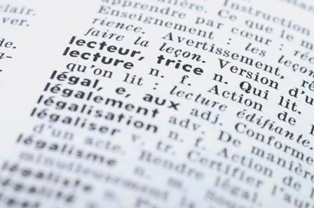vue de proche d'une page de dictionnaire en français aux mots lecteur, lectrice