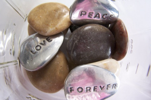 Word Stones and Rocks (pink tint is reflection of my shirt)