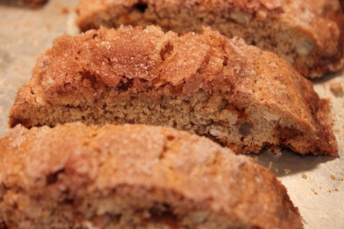 Biscotti out of the oven