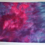 Raspberry and Cobalt Blue dyed fabric