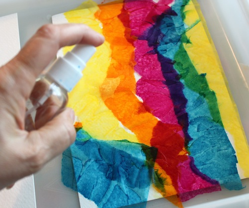 Adding tissue to watercolor paper