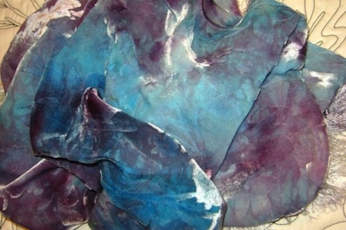 turquoise purple-hand-dyed-cut-velvet