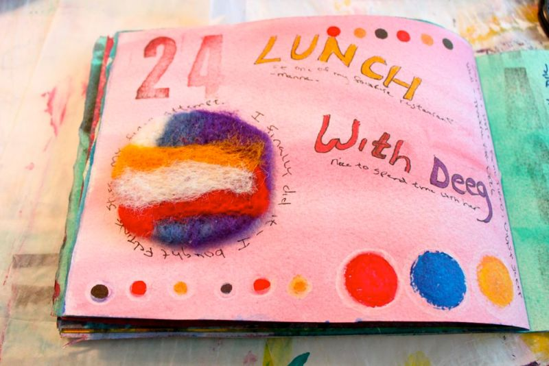 Art journal page with felting