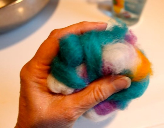 Roving covered soap