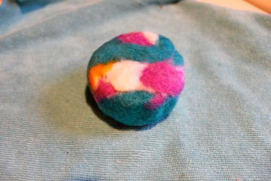 Felted soap on towel