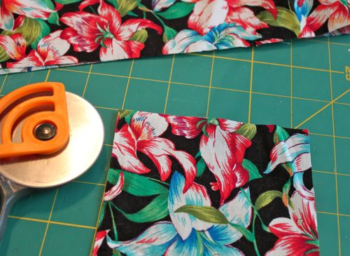 Cut fabric 5 x 4.5 inch blocks