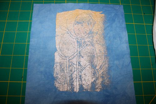 Screen printed on blue hand dyed fabric