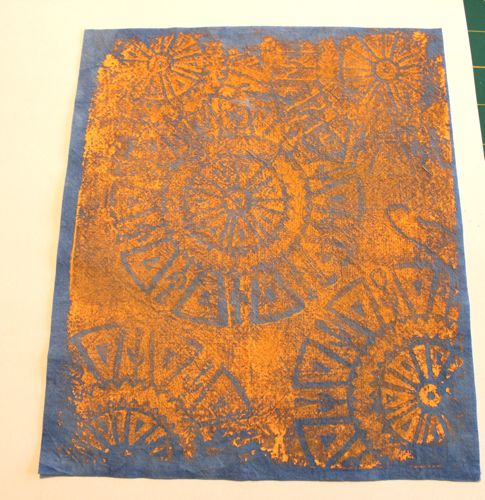 Printed blue hand dyed fabric