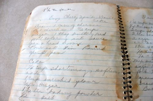 Closeup of recipe binder